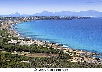 aerial view Formentera balearic island Ibiza horizon Spain...