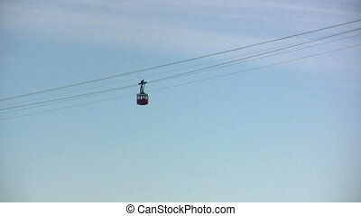 Cableway in Barcelona - View in a sunny day