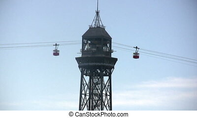 Cableway tower, Barcelona - View in a sunny day
