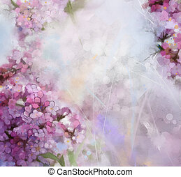 watercolor painting pink Apricot tree flower - Abstract...