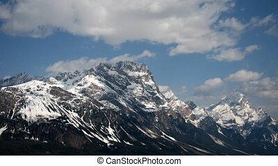 Snowy mountain, time lapse - Dolomites, Italy