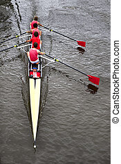 Coxed four from above - Rowing: a coxed four 4+ from above,...