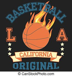 Los Angeles California sport typography t-shirt basketball...