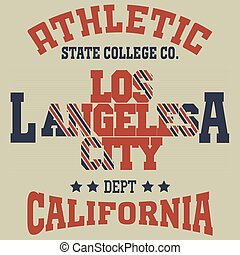Los Angeles - College fashion design print for t-shirt Los...