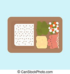 box - Japanese box lunch sashimi bento set - vector