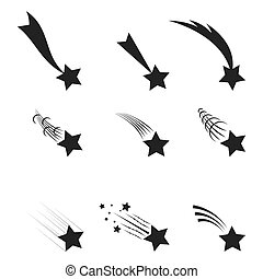 Falling  stars vector set Icons of meteorites and comets