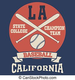 Los Angeles California sport typography t-shirt baseball...