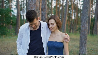 Start a romantic relationship. Attractive man and woman...