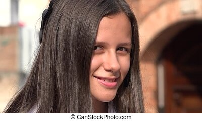 Smiling Teen Girl With Long Hair