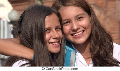 Teen Girl Friends Smiling