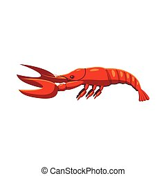 Boiled lobster icon, cartoon style
