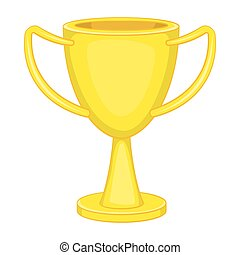Winner trophy cup icon, cartoon style - Winner trophy cup...