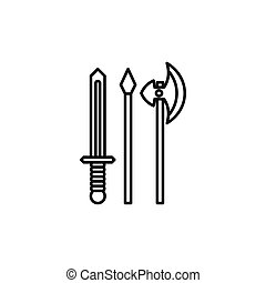 Medieval weapons icon, outline style