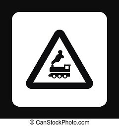 Sign railroad icon, simple style