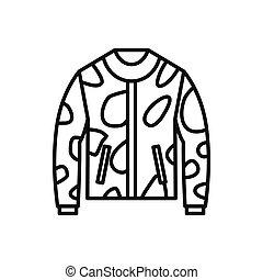 Camouflage jacket icon, outline style - Camouflage jacket...