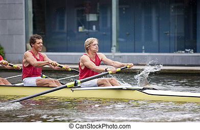 Explosive start - Oarsmen during the explosive first strokes...