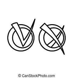 Yes No check marks icon, outline style