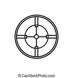 Crosshair reticle icon in outline style on a white...