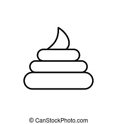 Poop icon in outline style on a white background