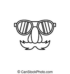 Comedy fake nose mustache, eyebrows, glasses icon in outline...