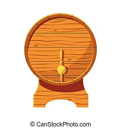 Wooden beer keg icon, cartoon style - Wooden beer keg icon...