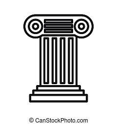 Ancient Ionic pillar icon, outline style - Ancient Ionic...
