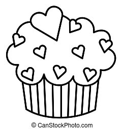 Heart Cupcake - Black and White illustration of a cupcake...