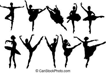 ballet, Danseurs, silhouettes