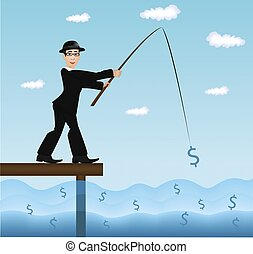 image of a businessman fishing dollar