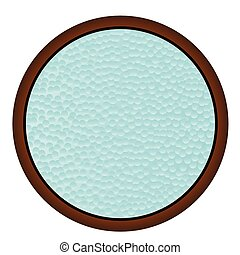 Round Wooden Window - A round window with hammered bathroom...