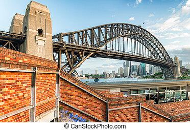 オーストラリア, 航空写真, 港, シドニー, 光景, 橋,  nsw