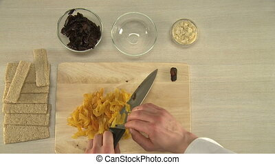 Cut prunes and dried apicots. - Cut prunes and dried apicots...