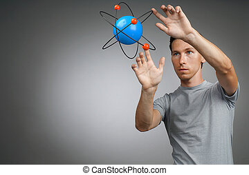 Man scientist with atom model, research concept - Young man...