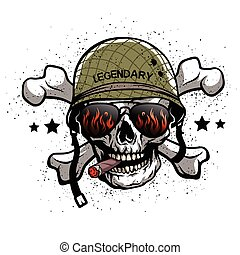 Skull with glasses and helmet. - Skull with sunglasses and a...