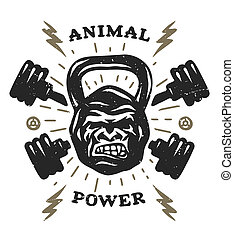 Two barbell and head gorilla weight Athletic emblem, poster,...