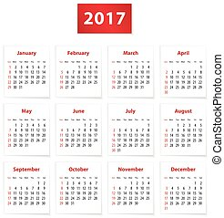 2017 English calendar