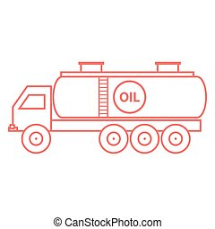 Stylized icon of the oil tanker/fuel tanker on a white...
