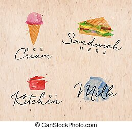 Watercolor label sandwich kraft - Set of watercolor labels...
