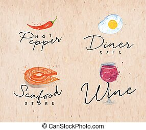 Watercolor label seafood kraft - Set of watercolor labels...
