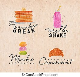 Watercolor label croissant kraft - Set of watercolor labels...