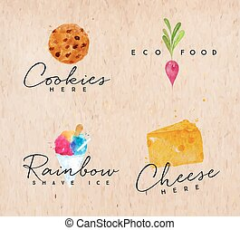 Watercolor label cheese kraft - Set of watercolor labels...