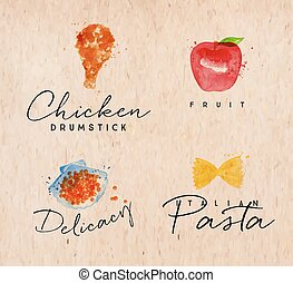 Watercolor label pasta kraft - Set of watercolor labels...