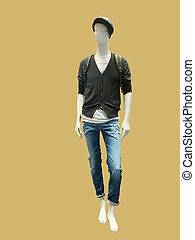 Male mannequin dressed in jacket and jeans