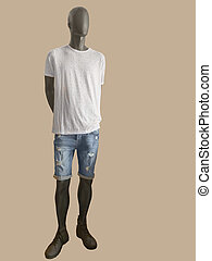 Male mannequin dressed in white t-shirt and shorts.