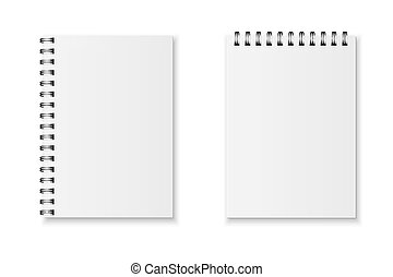 Realistic vector notebook set - Blank realistic spiral...