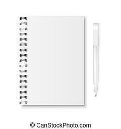 Vector notebook and pen - Blank realistic spiral notebook...