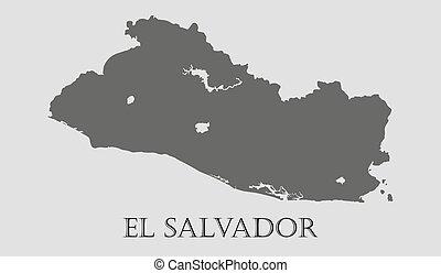 Gray El Salvador map - vector illustration - Gray El...