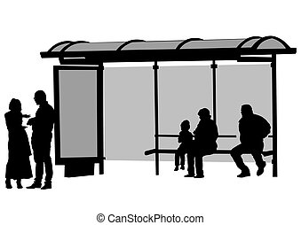 Bus stop whit people - People at bus stop on white...