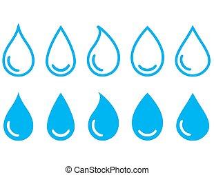 linear water drops set - blue linear water drops set on...