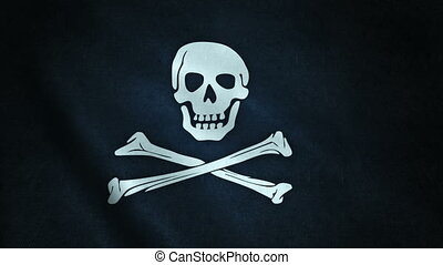 3d animation of pirate flag closeup. Seamless loop